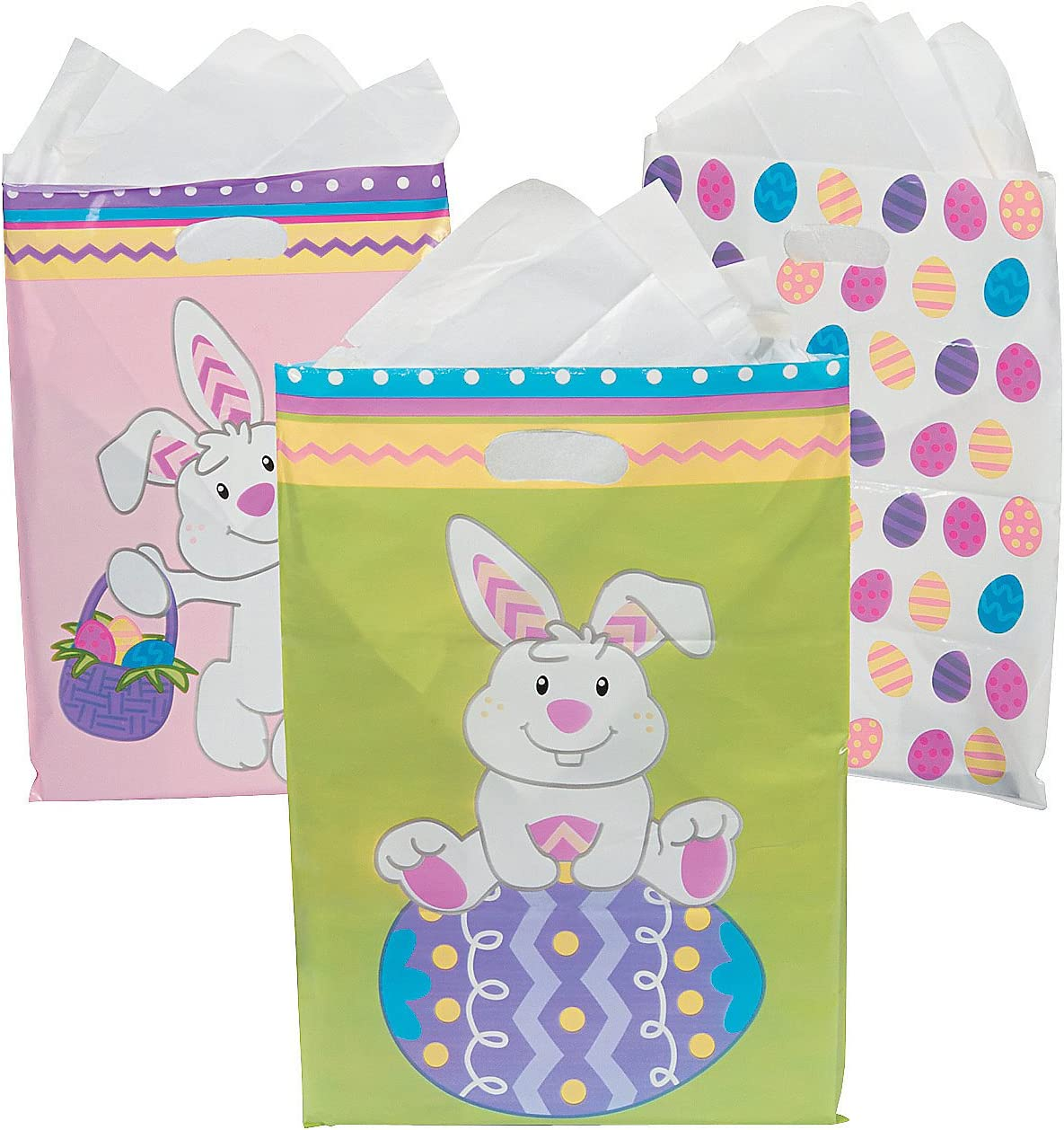 Easter for Easter Party Supplies 36 Pieces Bags 36pc Fun Express Cellophane Bags Easter Goody Bag W//handle Asst
