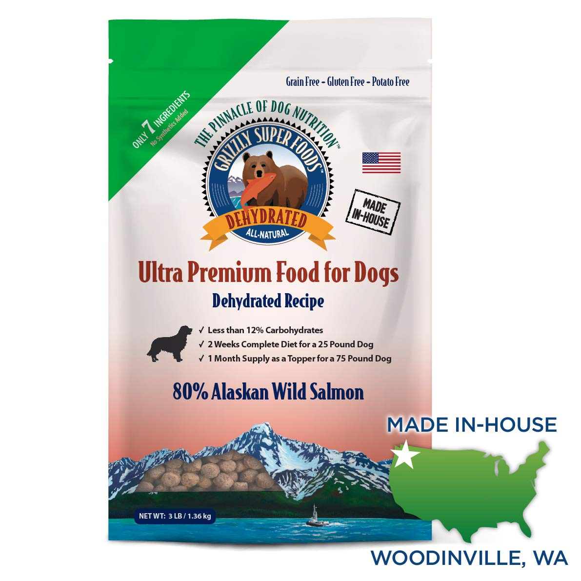 Grizzly Super Foods 7 Ingredient Dehydrated Dog Food - Grain Free, Gluten Free (3 lb) by GRIZZLY SALMON OIL OMEGA 3 FATTY ACIDS ALL-NATURAL