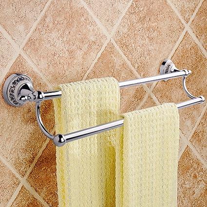 MUMENG Bathroom Towel Bar Double Towel Rail Wall Mounted Brushed Towel Rack  Stainless Steel Ceramic Bathroom