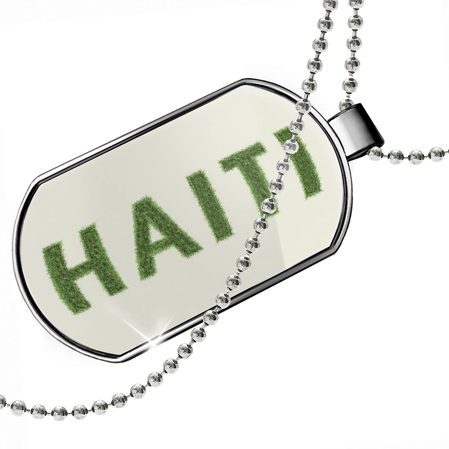 NEONBLOND Personalized Name Engraved Haiti Soccer Field Grass Dogtag Necklace