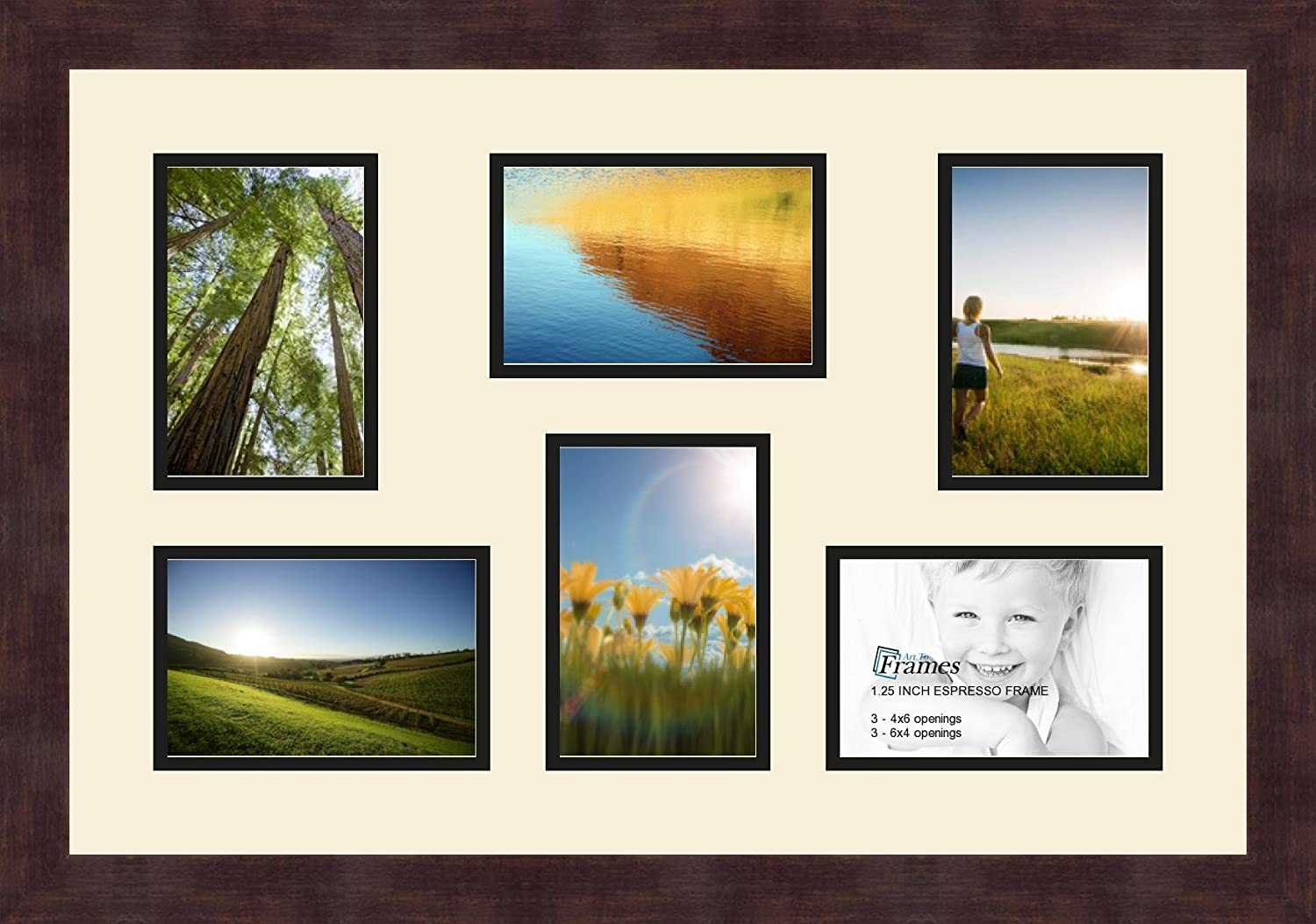 Art to Frames Double-Multimat-517-716//89-FRBW26061 Collage Frame Photo Mat Double Mat with 5-4x6 and 1-5x7 Openings and Espresso Frame