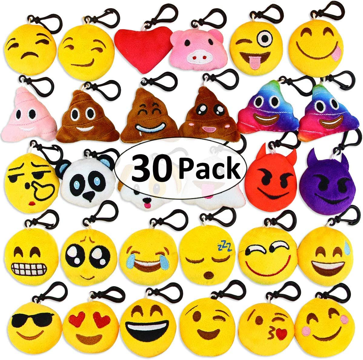 Aitey Emotion Keychain for Kids, Emotion Plush Party Decorations, Birthday Theme Party Favor for Kids Bulk Toys for Valentine Carnival Prizes, Set of 30