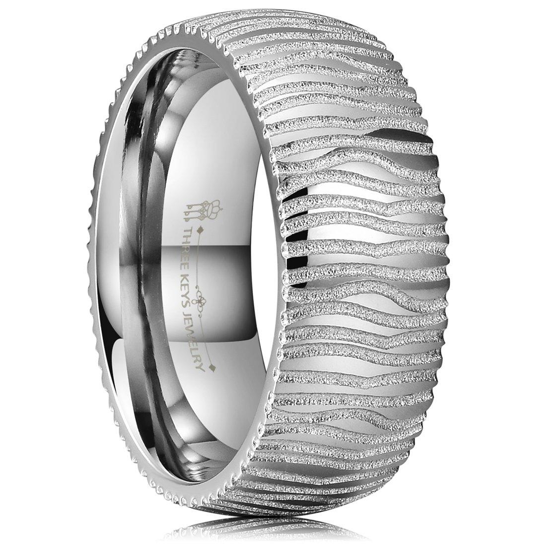 THREE KEYS JEWELRY 8mm Koa Wood Bubinga Ebony Inlay Damascus Steel Mens Wedding Ring Black Gold Band