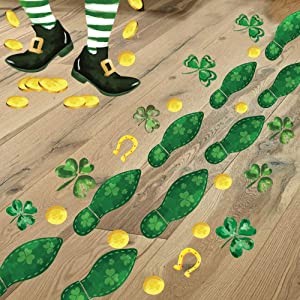 Ivenf St. Patrick's Day Decorations Leprechaun Footprints Floor Stickers, 6 Sheets 180 pcs, Shamrock Gold Coin Stickers for Kids School Home Office, St. Patricks Day Accessories Party Supplies Gifts