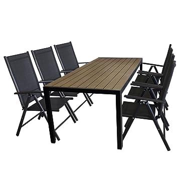 7tlg Sitzgarnitur Alu Gartentisch Mit Polywood Tischplatte In Braun,  205x90cm + 6x Aluminium Hochlehner,