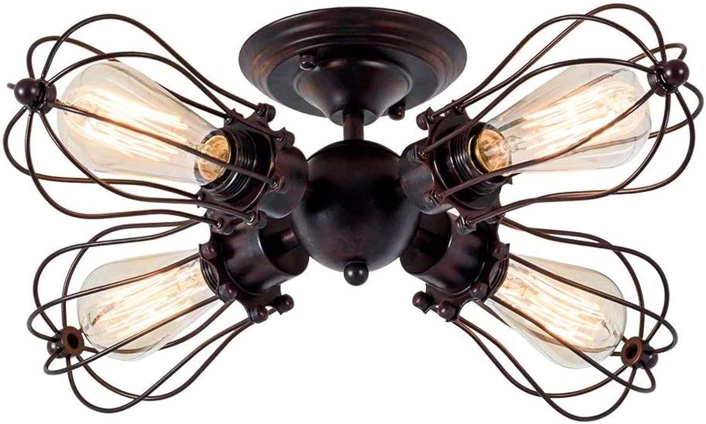 Lámpara de techo industrial de la vendimia lámpara antigua Fixture jaula de alambre glorieta lámpara semi-empotrado de techo de metal cubierta comedor sala de estar (con cuatro luces, color antiguo)