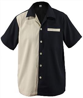 retro 50er Panel rockabilly Lounge Shirt BOWLING Hemd blau
