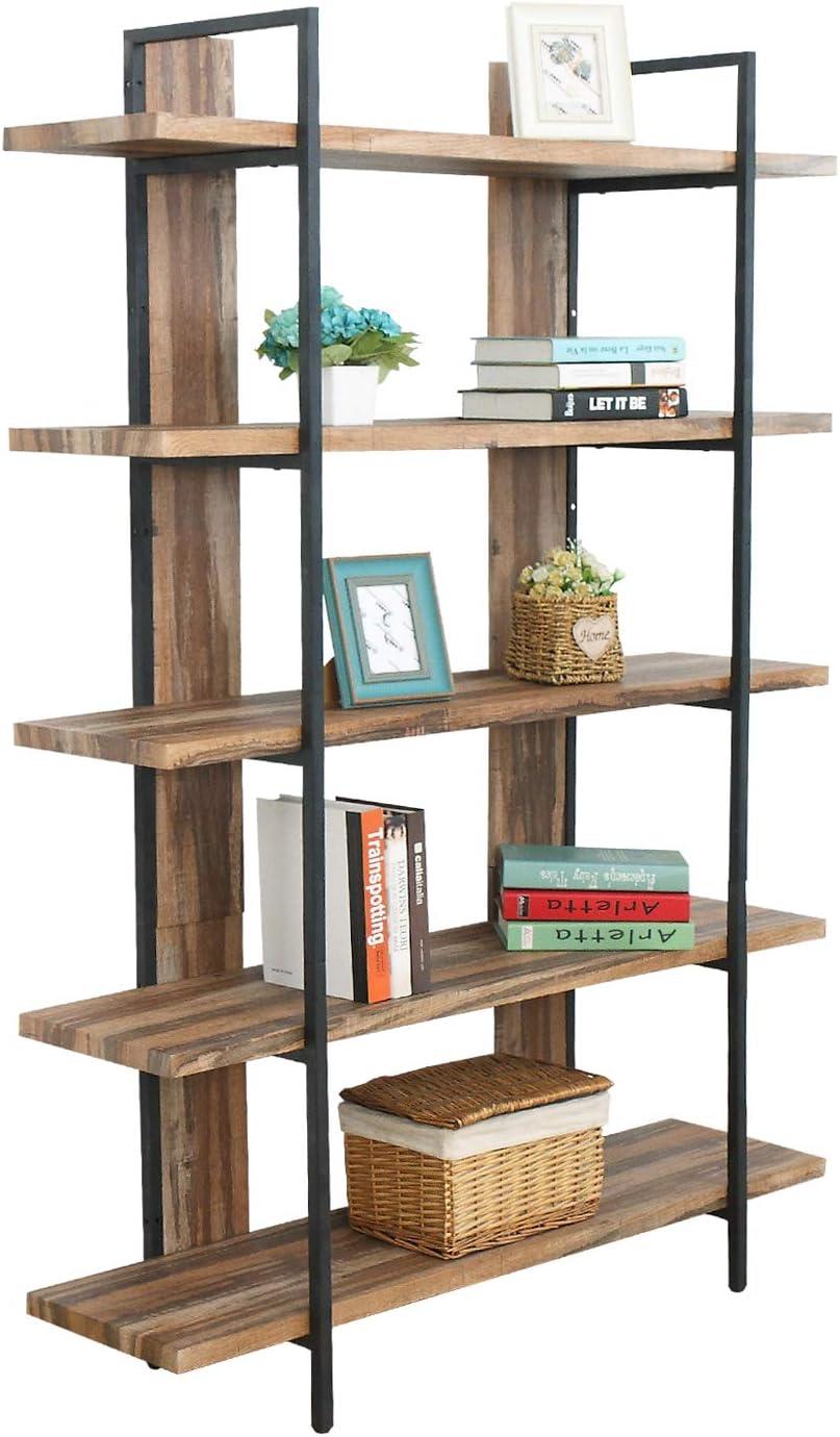"Espresso 5 Shelf Modern Wood Bookcase 71/"" Tall Bookshelves Home Office Furniture"