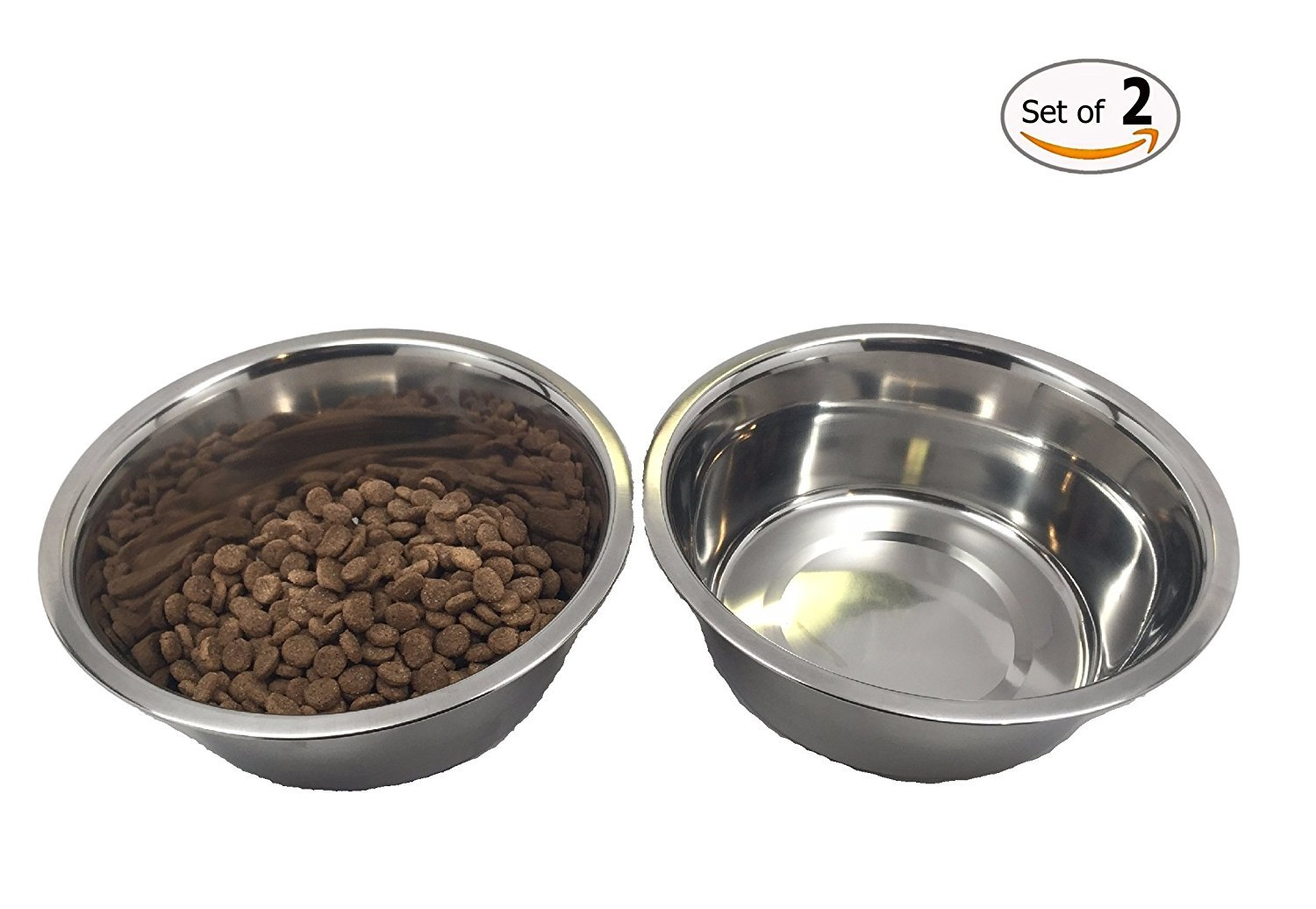 Stainless Steel Dog Bowl Set, 8 Large, 64oz / 2-Quart, Two Bowls One Without Sticker. 8 Large Top Dog Chews TDC022QSB