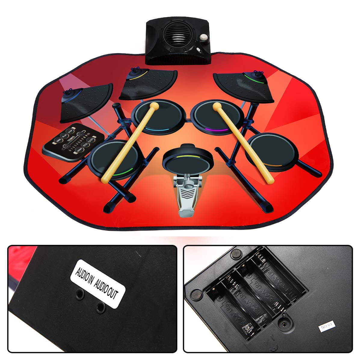 Costzon Electronic Drum Mat, 8 Keys Glowing Music Mat with LED Lights,MP3 Cable, Drumsticks, Support Play - Study-Record - Playback - Demo 5 Modes, Volume Control by Costzon (Image #5)