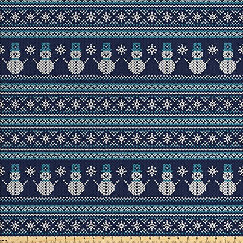 Ambesonne Nordic Fabric by The Yard, Snowman Pattern Geometric Angled Lines Chevron Zigzag Knitting Design, Decorative Fabric for Upholstery and Home Accents, Dark Blue Turquoise (Zig Zag Knitting Pattern)
