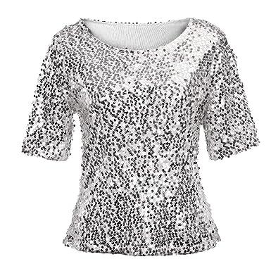 0bb0c826fe2 Hanomes Femmes Manches Courtes T-Shirt Longue Femme Paillettes Soirée  Mariage Top Haut