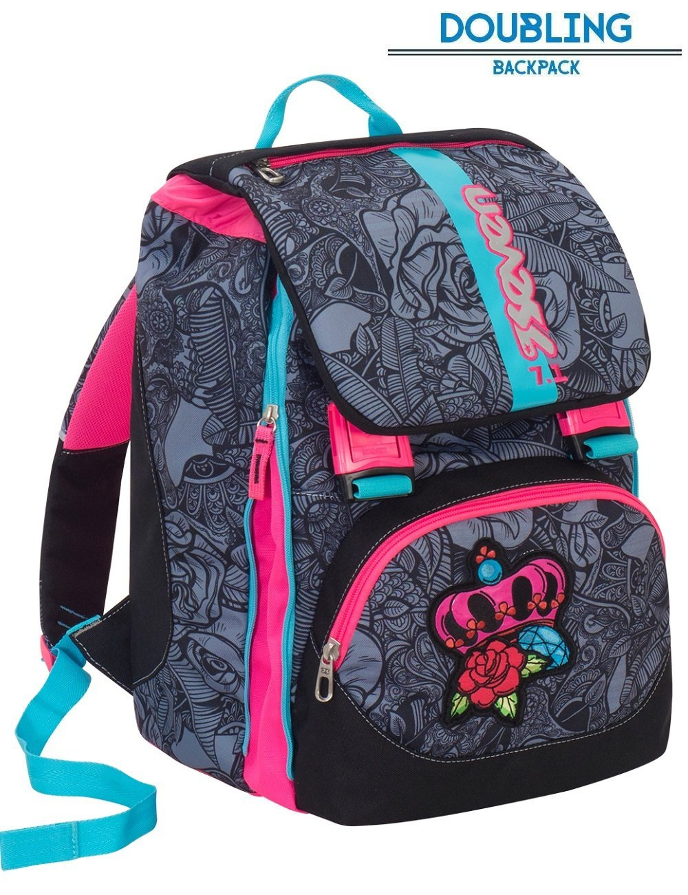 Backpack expandable Seven Roses Girl Black