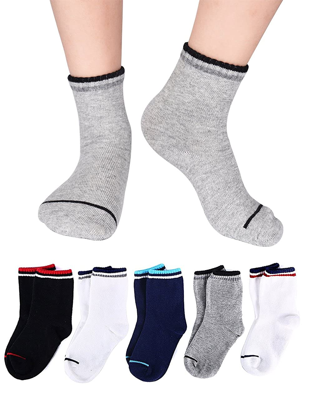 Kids Socks Sports Athletic Crew Cotton Quarter Striped Seamless Cushion for 3t 4t-8t Boys Girls Baby Toddler 10/12 Pair Pack M-MAX MMAXSOCKSN0730