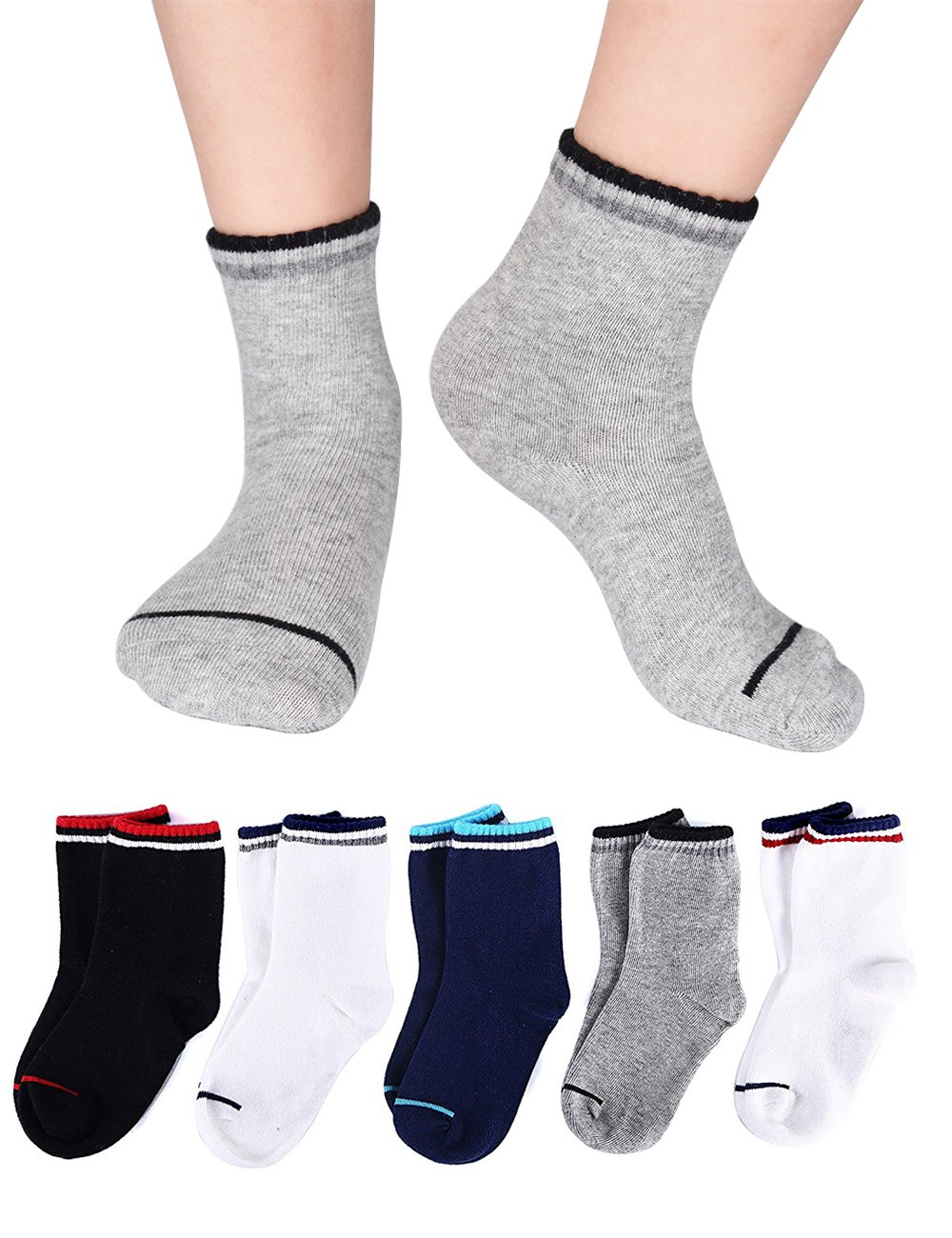 Kids Youth Preschool Boys and Girls Striped Athletic Crew Quarter Basic Socks Cotton Seamless Cushion for Sports Running 5/10 Pair Pack (10 Pairs/6-8 years old)