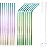 HOMQUEN Pajitas de acero inoxidable coloridas de 18 piezas, pajitas arcoiris de bebida reutilizables de 8.5 '', con estuche p