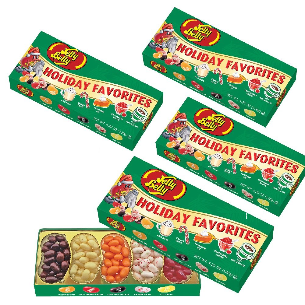 (Set/4) Jelly Belly Christmas Holiday Favorite Flavored Candy Beans Gift Box by Jelly Belly