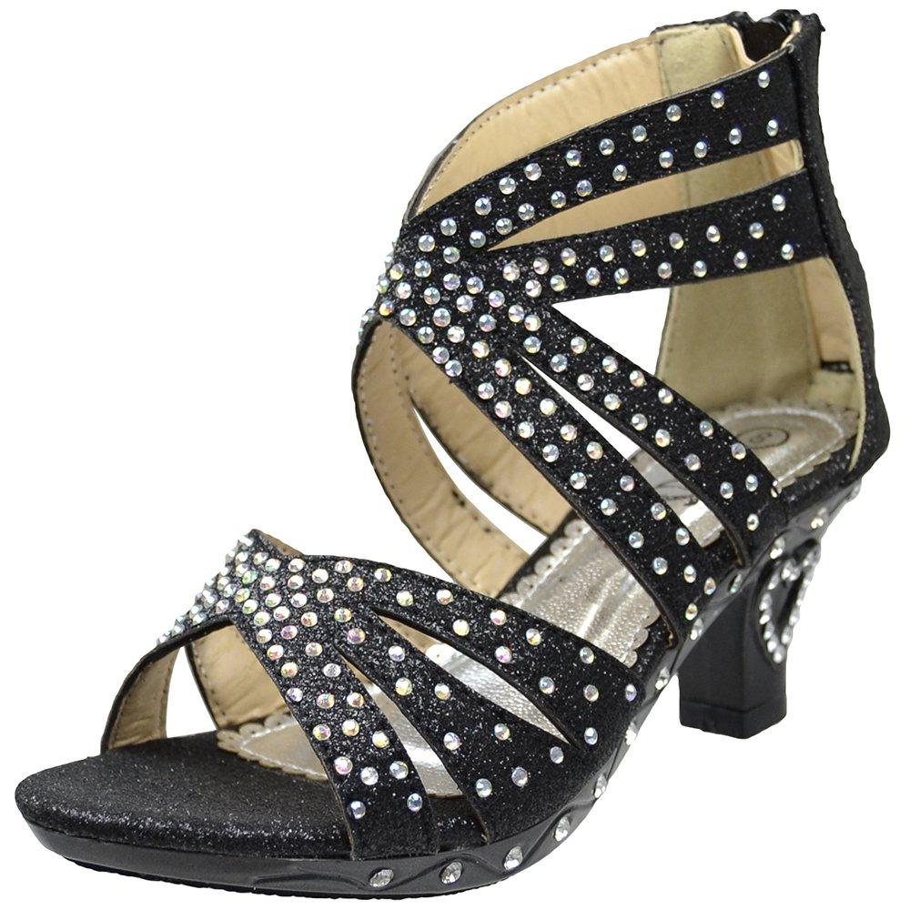 DS By KSC Kids Dress Sandals Rhinestone Glitter Cutout High Heel Pageant Shoes Black SZ 11 Toddler