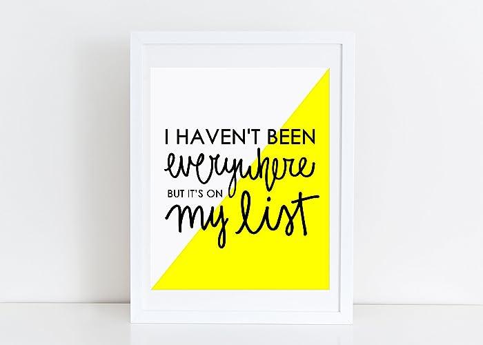 Amazon.com: Travel Print Inspirational Quote Typography Artwork ...