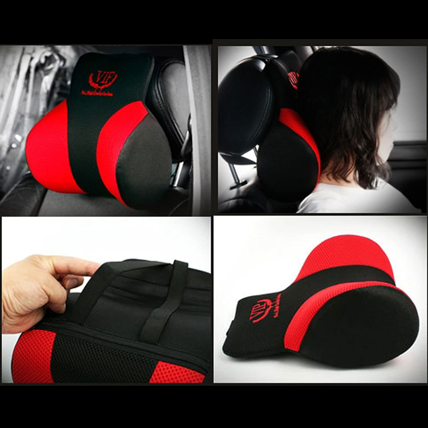 1pack VIP Luxury Black Memoryform Cushions Car Seat Head Neck Rest Cushion Headrest Pillow Pad for Car Motors Auto Vehicle