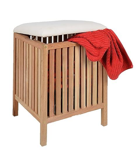 ts-ideen Badhocker mit Sitzkissen Sauna Badezimmer Sitz und Wäschekorb aus  massivem Walnuss Holz