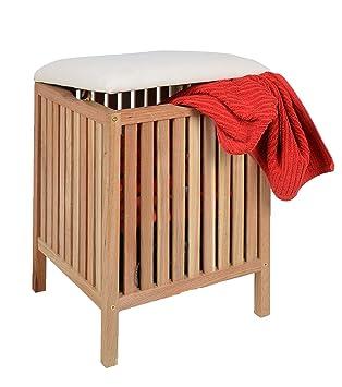 Ts Ideen Badhocker Mit Sitzkissen Sauna Badezimmer Sitz Und Wäschekorb Aus  Massivem Walnuss Holz