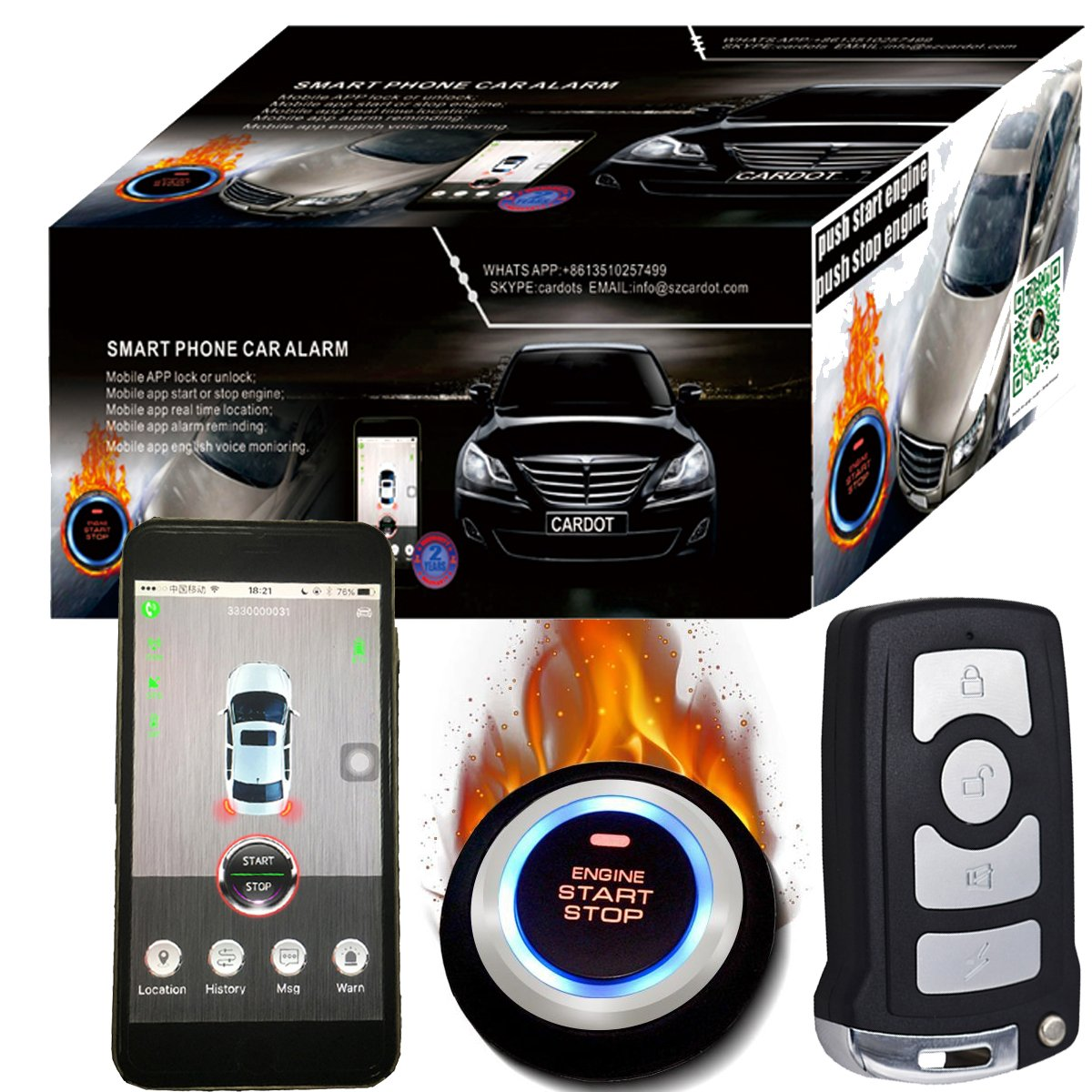 Smartphone Gsm&Gps Car Alarm Compatible With IOS And Andriod Phone Auto Central Lock Car Engine Start Stop