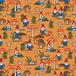 GRAPHICS & MORE Gnomes Toadstools and Mushrooms Pattern Premium Roll Gift Wrap Wrapping Paper