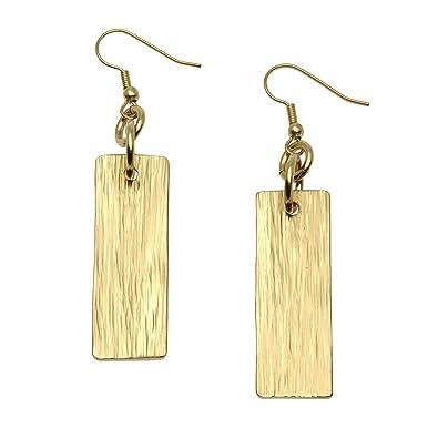 1b64507d6 Amazon.com: Nu Gold Brass Bark Dangle Earrings by John S Brana ...
