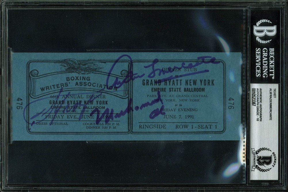 Muhammad Ali, Joe Frazier & Arthur Mercante Signed Autographed Ticket Stub Graded Gem 10 Bas Certified Certified