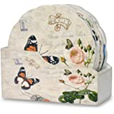 Flower Shaped Drink Coasters with Holder - Set of 6 - Assorted Butterfly and Rose Designs - Each Coaster is Printed with a Unique European Vintage Theme - Gifts for Her - Mother's Day Gift Ideas
