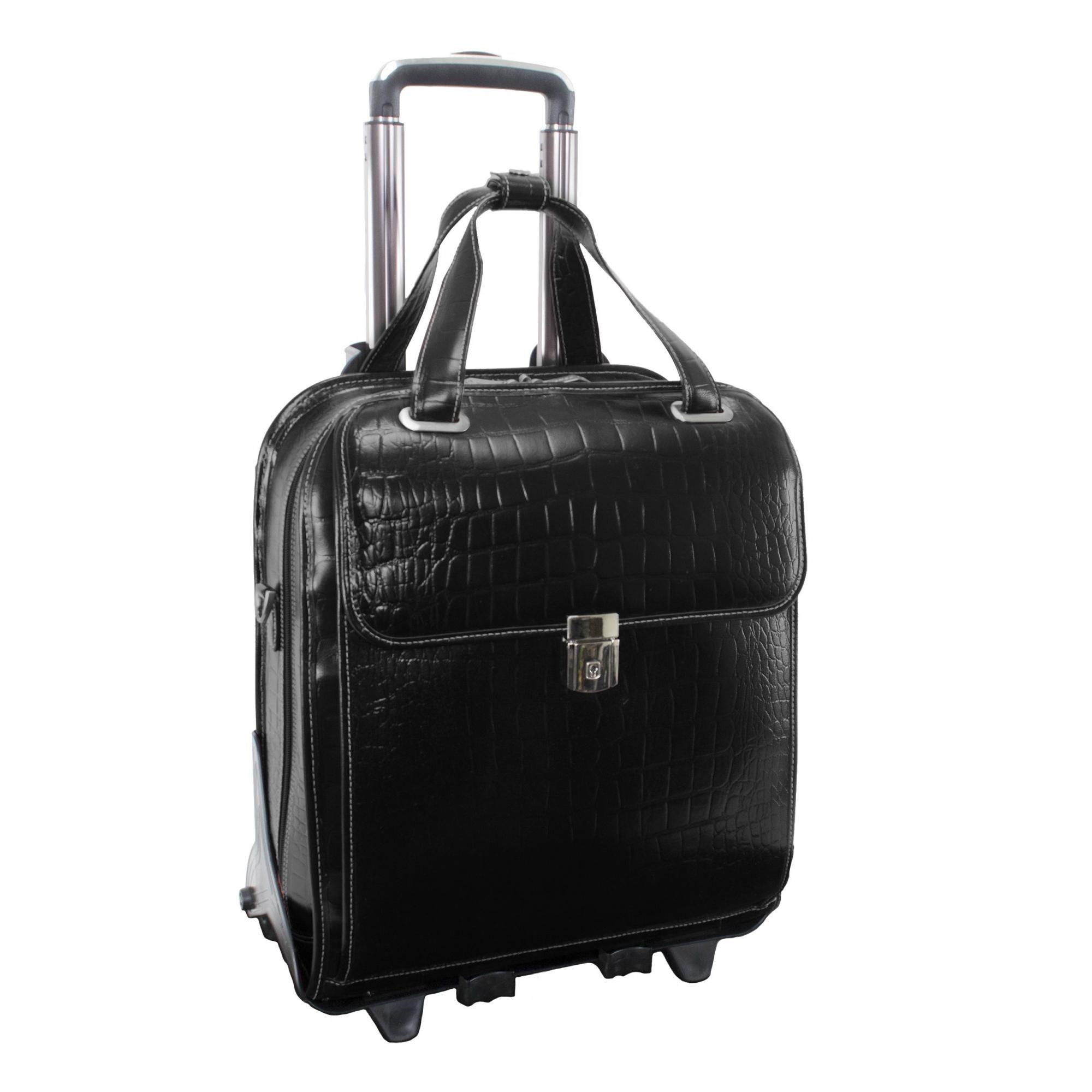Siamod NOVEMBRE 35325 Black Leather Ladies' Detachable-Wheeled Laptop Case