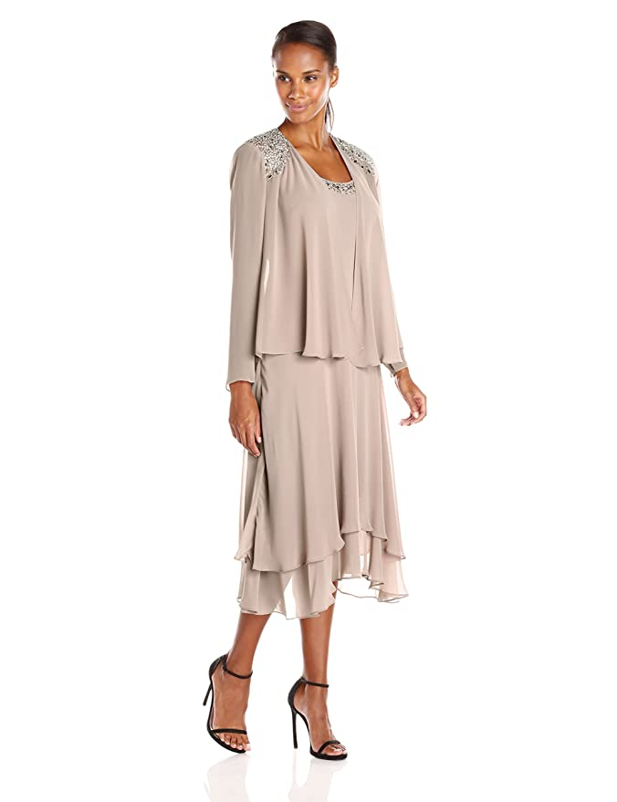 Vintage Evening Dresses and Formal Evening Gowns S.L. Fashions Womens Embellished-Shoulder and Neck Jacket Dress $98.00 AT vintagedancer.com