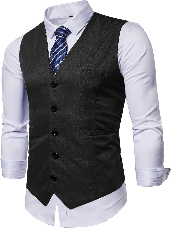 DONSON Mens Formal Business Suit Vest with Necktie Slim Fit Male Waistcoat for Tuxedo Vest