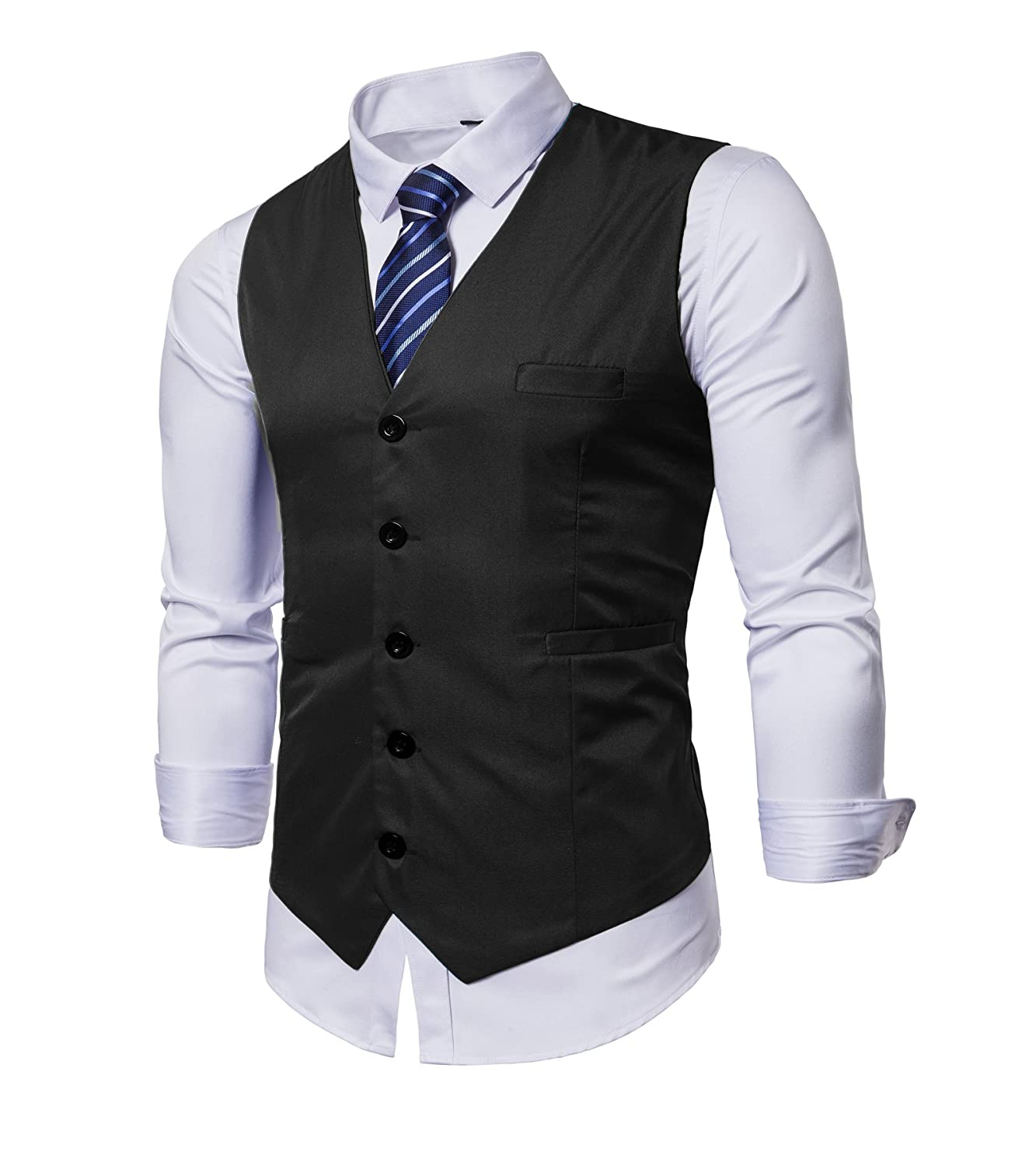 cbe4cdcc7 Men's Vest Style: V-Neck, Slim Fit, Lightweight, Adjustable Back Buckle  Strap, Classic Blue Striped Necktie. Occasion: Prom, wedding, banquet,  homecoming, ...