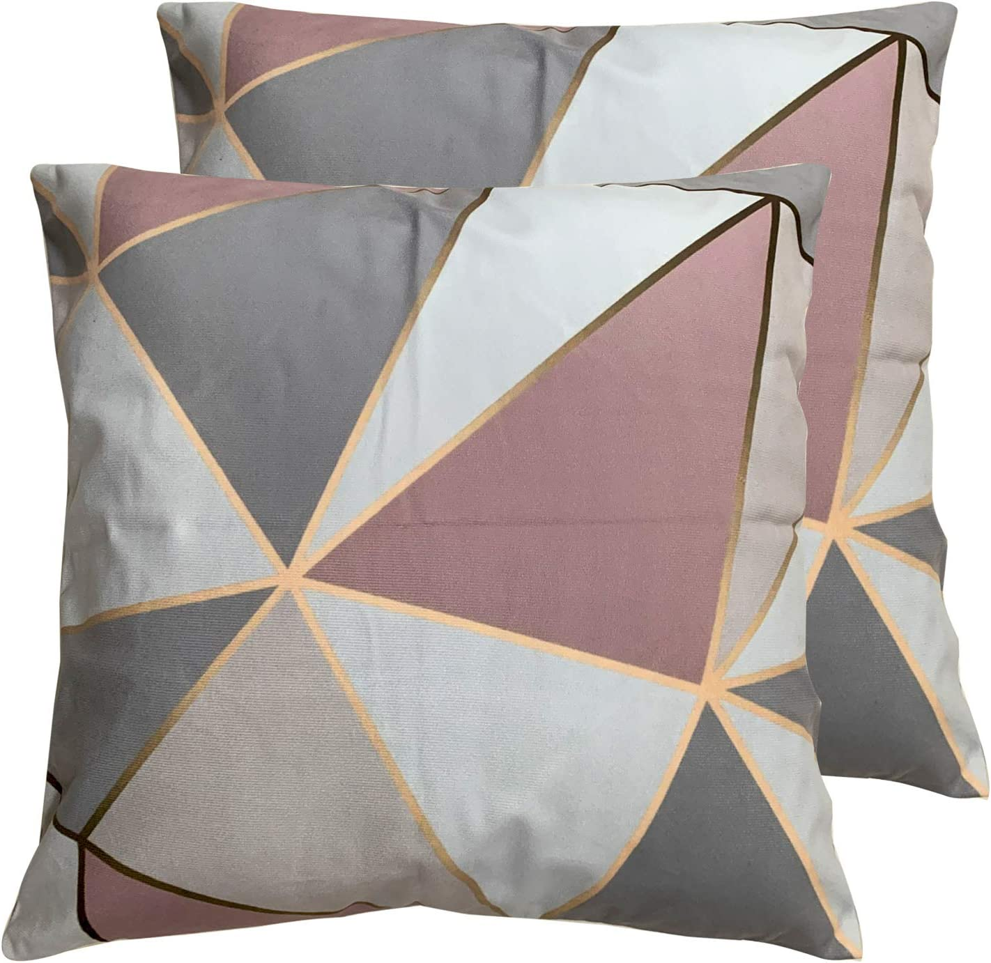 Deco4URLife Set of 2 Square 18X18 inch Throw Pillow Cover for Women/Men, Short Plush Pillow Case Cushion Cover for Home Sofa Couch Living Room Car Decor - Apex Geometric Rose Gold Pink