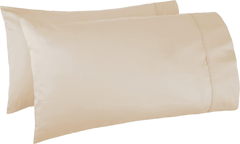 AmazonBasics 400 Thread Count Cotton Pillow Cases, Standard, Set of 2, Beige