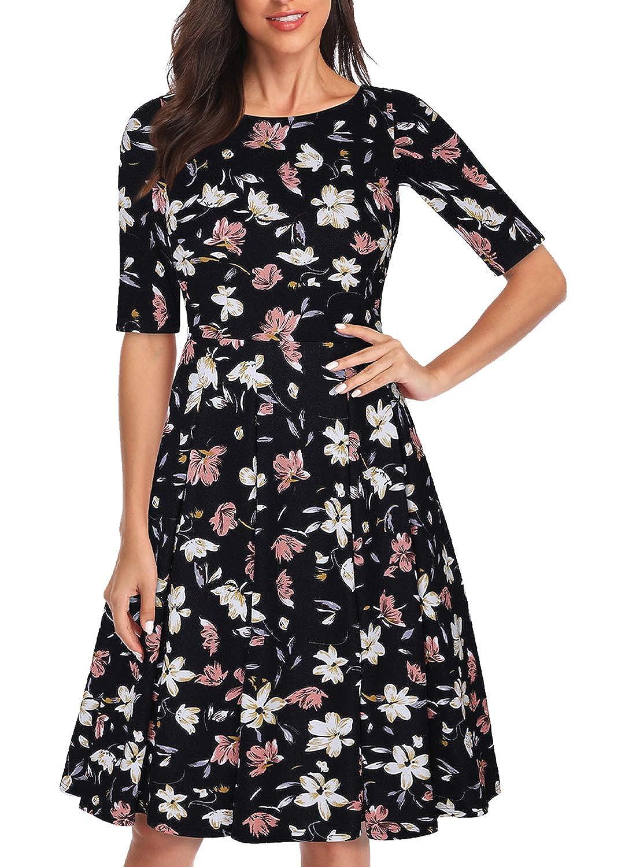 7cbd3d233a92d MISSJOY Women Vintage Patchwork Half Sleeve Pockets Slim Fit and Flare Swing  Dress: Amazon.ca: Clothing & Accessories