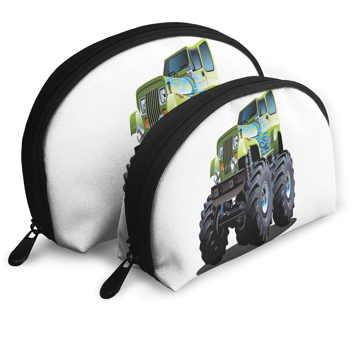 Shell Shape Makeup Bag Set Portable Purse Travel Cosmetic Pouch,Cool Monster Truck Boyhood Dreams Giant Wheels Off Road Vehicle,Women Toiletry Clutch