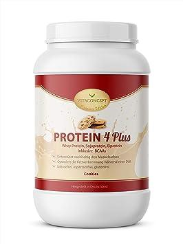 PROTEÍNA EN POLVO 4 PLUS I 1 kg de proteína en polvo I proteína de suero - proteína de soja con BCAA I Fabricado en Alemania por VITACONCEPT cookies