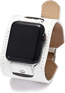 NIGHTCRUZ Compatible with Leather Apple Watch Band - Wide Leather Adjustable Bracelet for Apple Watch Series 5/4/3 (White, 42mm/44mm)