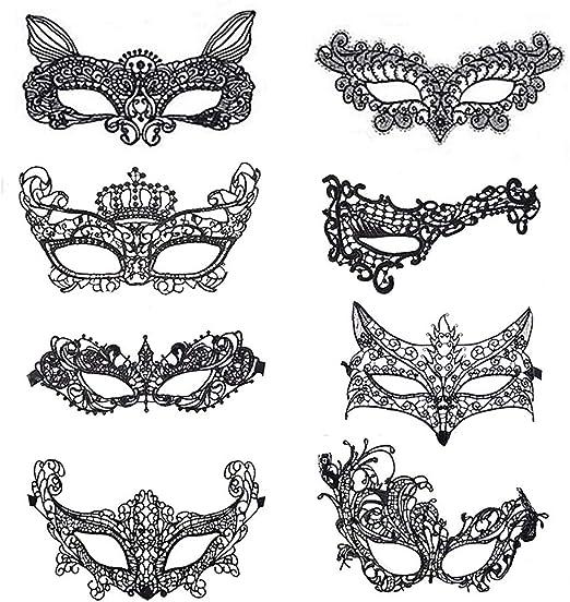 Máscara de Encaje,Mascaras Venecianas 8 Pack Máscara de Mujer Sexy para Halloween Veneciano Masquerade Carnaval ...