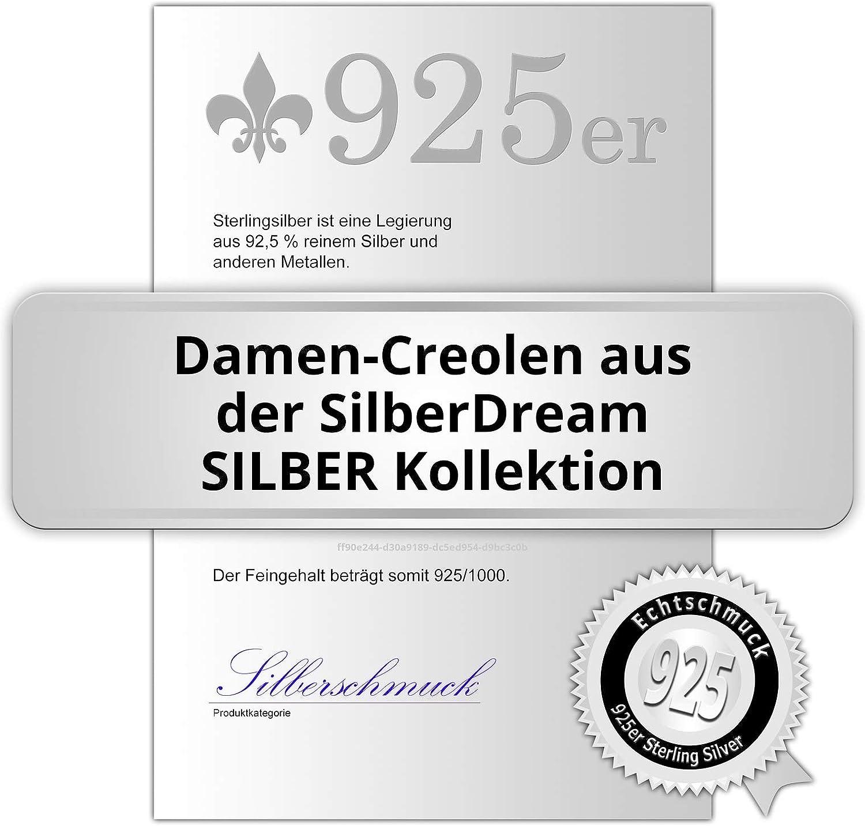 SilberDream SDO67263 Boucles doreilles cr/éoles en argent 925 v/éritable pour femme
