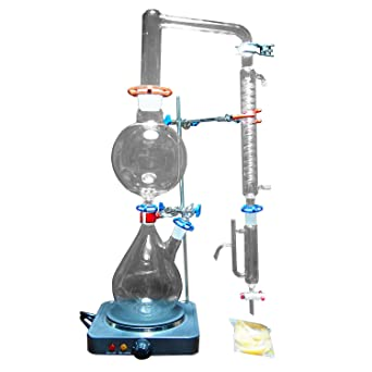 Nuevo Laboratorio 2000ml Aceite Esencial Steam Destilación Awareware Glass Kits Purificador de Agua Destilador w /Hot Stove Graham Condenser