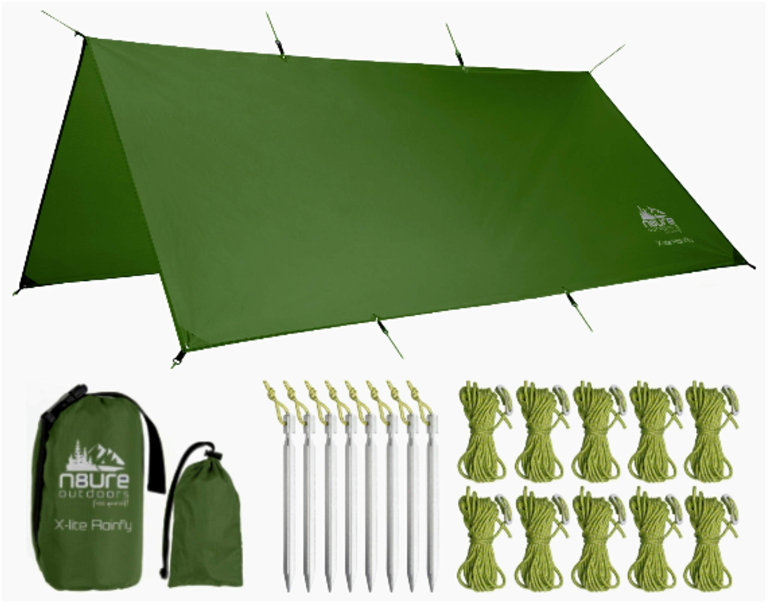 N8URE Outdoors Hammock Rainfly Tarp Premium 10x10' Ultralight Ripstop Nylon Waterproof Outdoor Tent Camping Shelter Backpack Hike Travel Bushcraft Survival Gear Includes Stakes Ropes by N8URE Outdoors