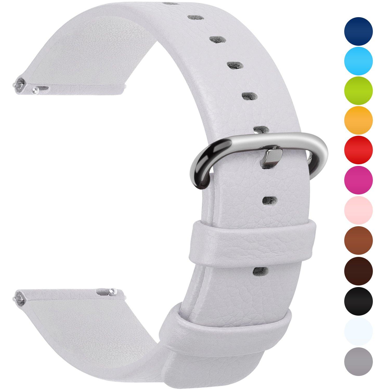 Fullmosa Uli Piel Correa Reloj, 12 Colores para Correa/Banda/Pulsera/Strap Reloj Huawei/Samsung/Recambio/Reemplazo 18mm 20mm 22mm 24mm, Blanco 22mm