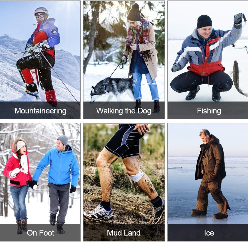 synmixx Schuhspikes Schuhkrallen Anti Rutsch Ice Klampen Schnee Spikes mit 10 Ersatz Spikes Herren Damen Steigeisen Eiskrallen f/¨/¹r Schnee EIS 1 Paar Wandern und Bergsteigen