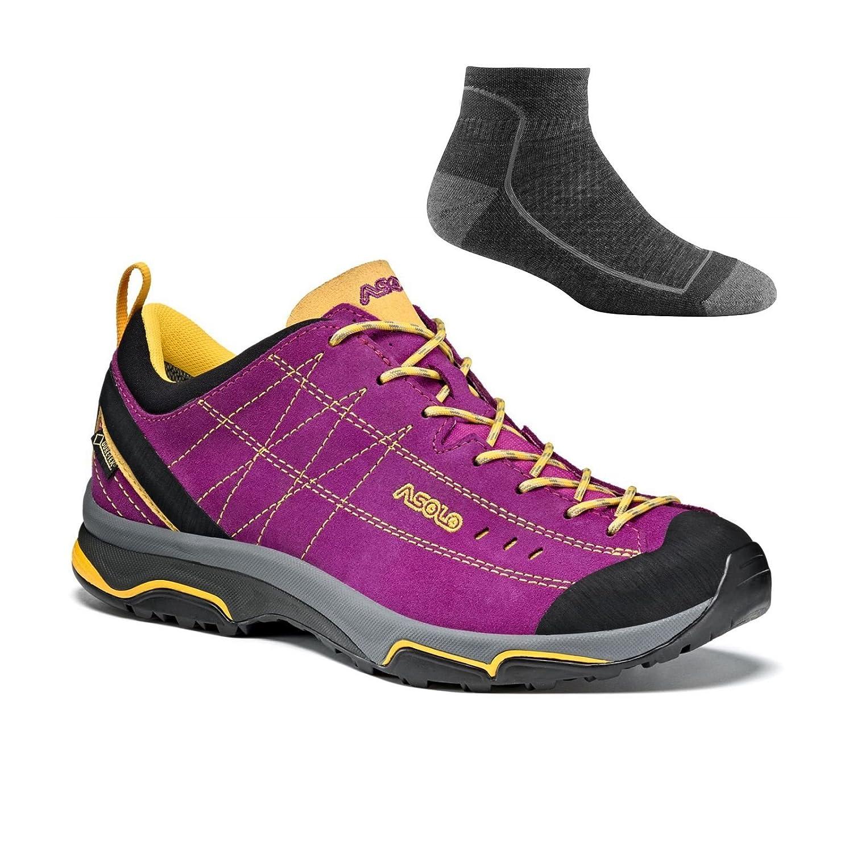 Asolo Women's Nucleon GV Hiking Shoes B06ZYBJF5D 9.5 B(M) US|Verbena/Yellow W/ Socks