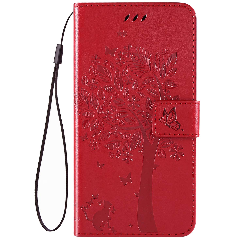 Robinsoni Custodia Compatibile con Huawei Y5 2019 Cover Portafoglio Huawei Honor 8S Libro Pelle PU Cover Folio a Fogli Mobili Cover Taccuino Cover Libretto Retro Flip Caso Gatta in Rilievo Cover