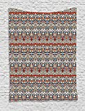 asddcdfdd Ethnic Tapestry, Floral Aztec Illustration Antique Indigenous Pattern from Ancient Culture, Wall Hanging for Bedroom Living Room Dorm, 60 W X 80 L Inches, Orange Blue Beige